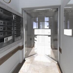 Wizualicje częsci wspólnych Nowe Centrum Września - korytarz, skrzynki na listy