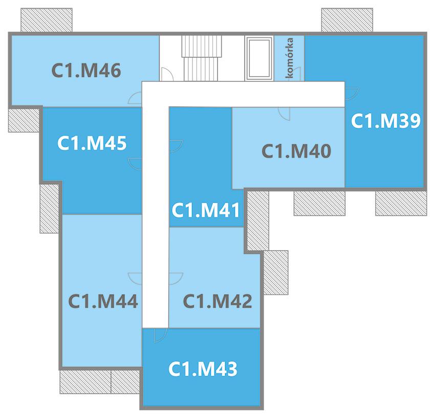 rozmieszczenie mieszkań w budynku C1 na piętrze 5