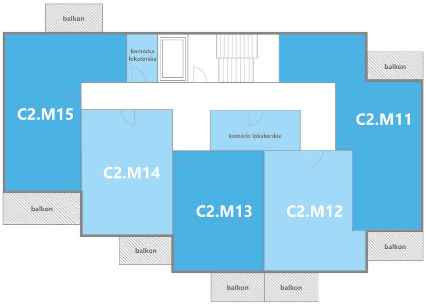 Rozmieszczenie mieszkań w budynku C2 na Daszyńskiego we Wrześni, piętro 2