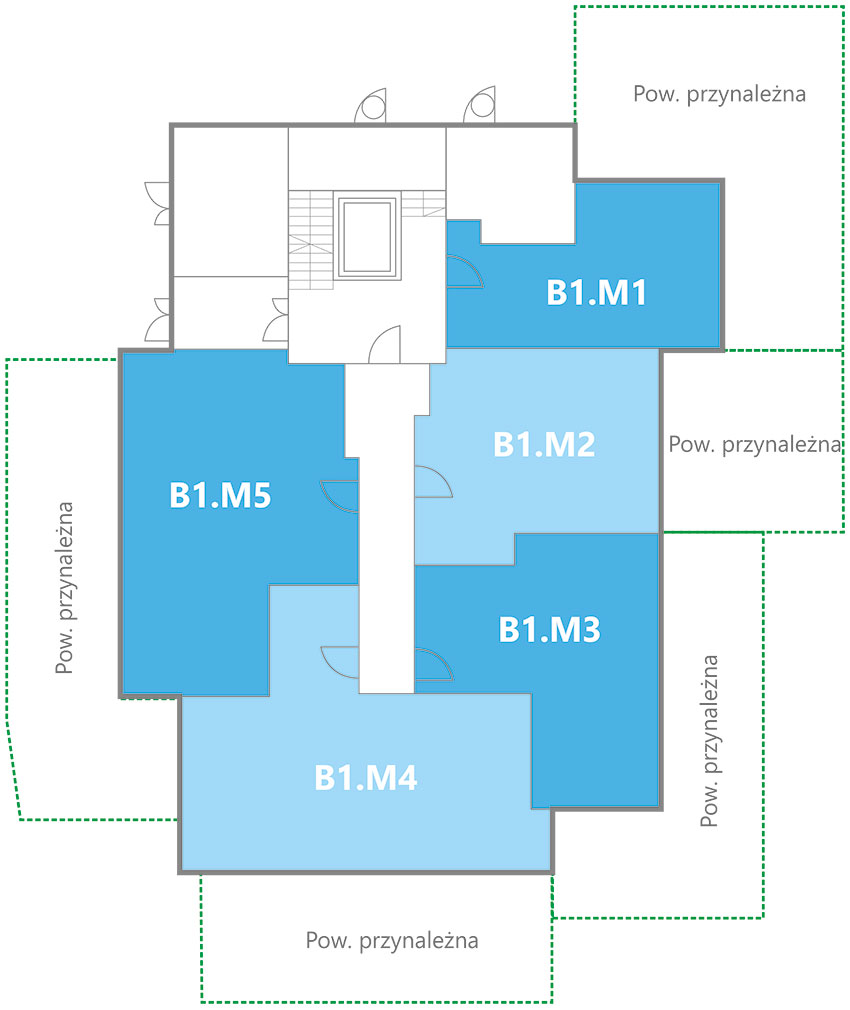 Nowe Centrum Września rozmieszczenie mieszkań w budynku B1 na parterze