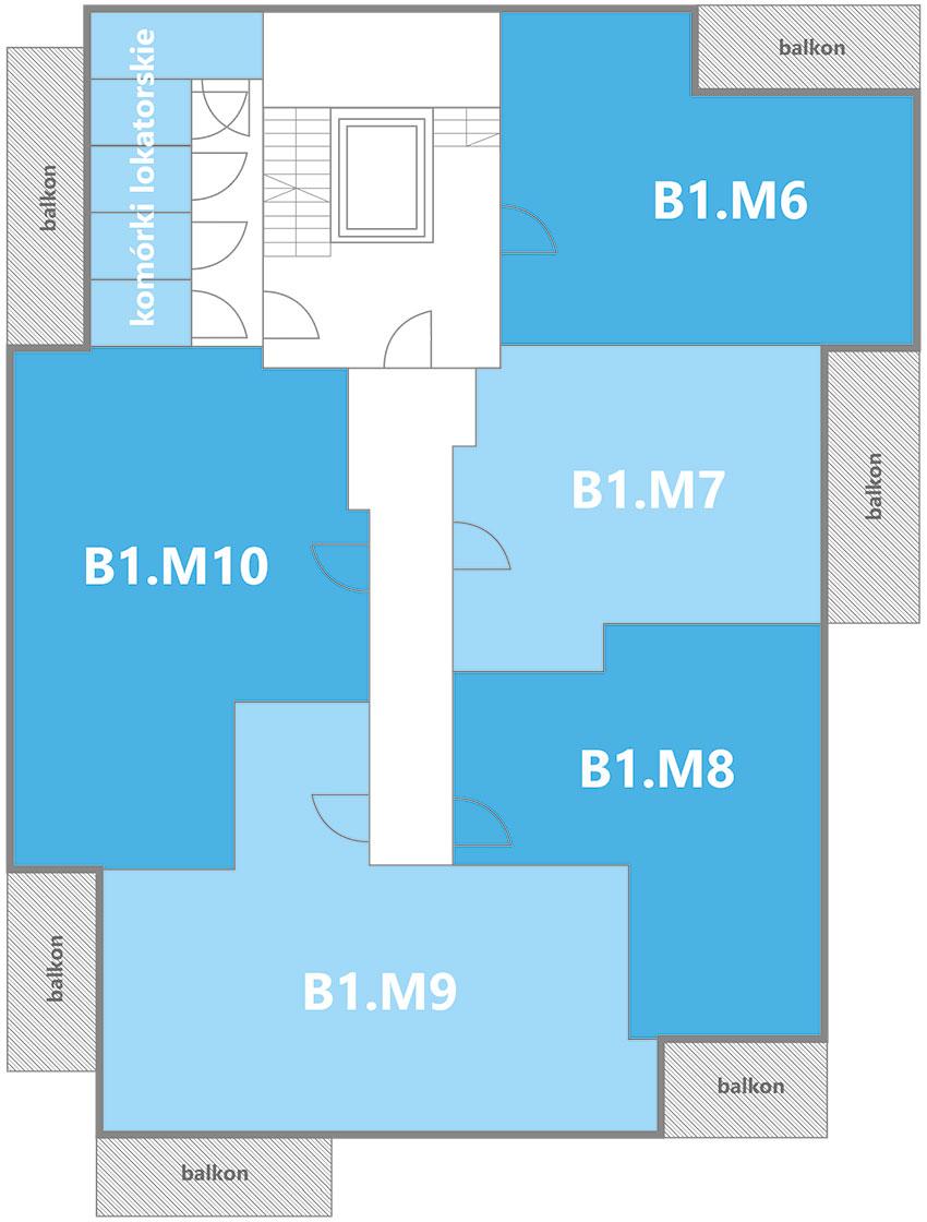 Nowe Centrum Września rozmieszczenie mieszkań w budynku B1 na 1 piętrze
