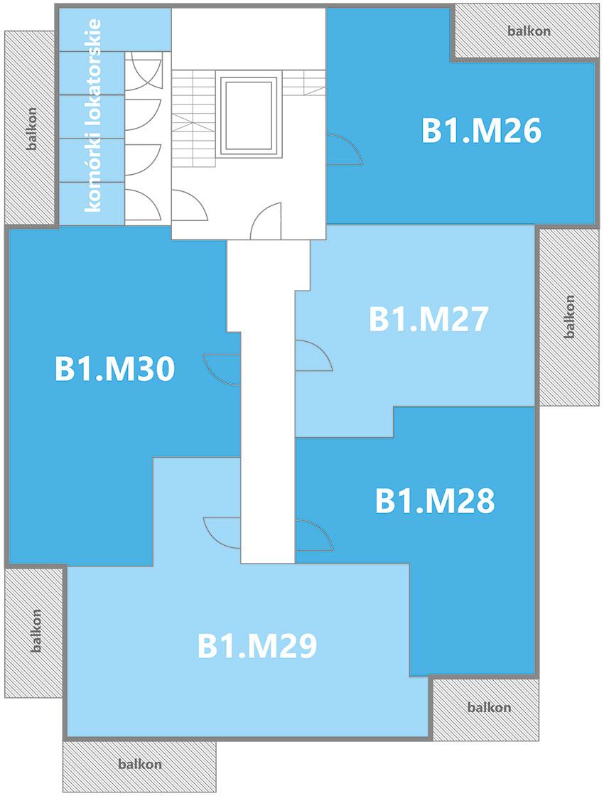 Nowe Centrum Września rozmieszczenie mieszkań w budynku B1 na piętrze 5