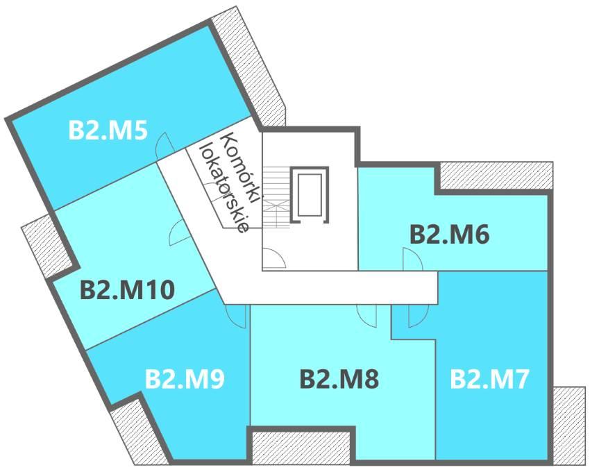 Nowe Centrum Września rozmieszczenie mieszkań w budynku B2 na 1 piętrze