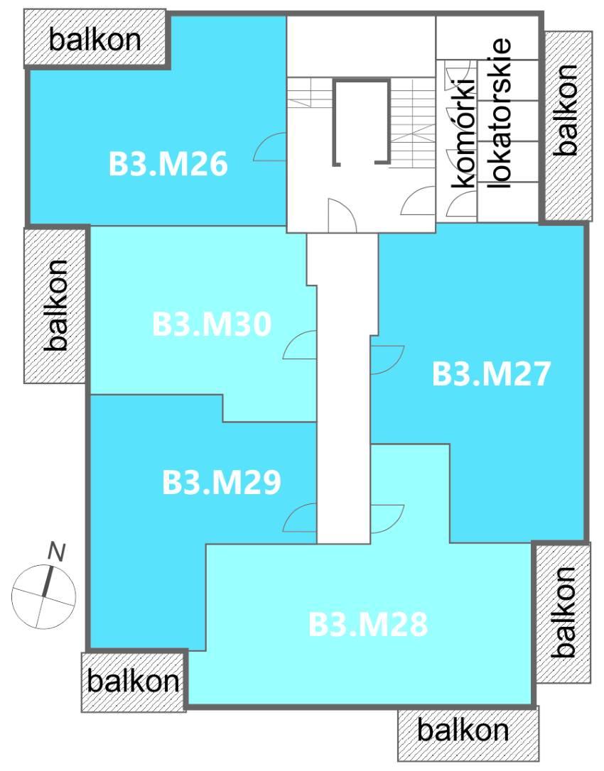 Nowe Centrum Września rozmieszczenie mieszkań w budynku B3 na 5 piętrze, ul. Daszyńskiego, osiedle Tonsil