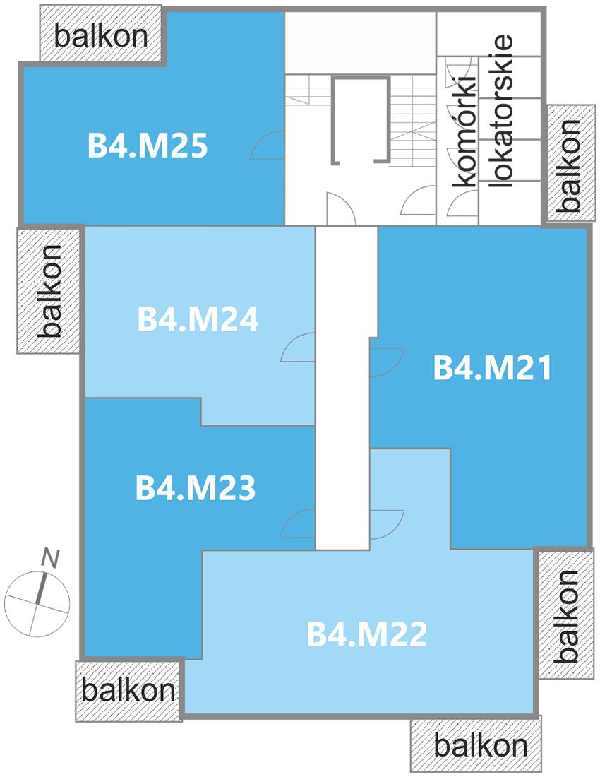 Nowe Centrum Września rozmieszczenie mieszkań w budynku B4 na 4 piętrze, ul. Daszyńskiego, osiedle Tonsil